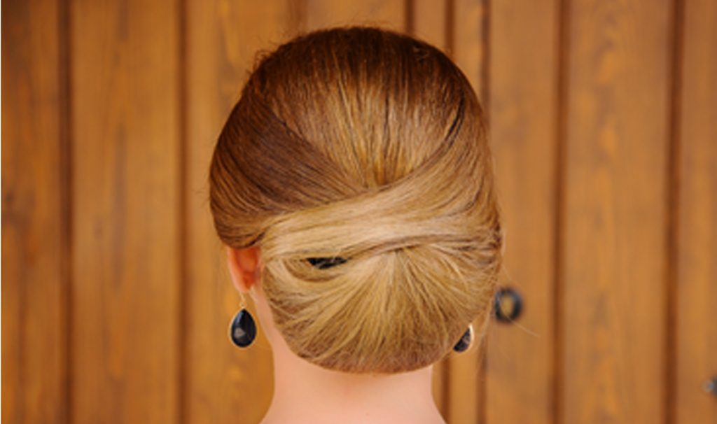 woman with low chignon hairstyle