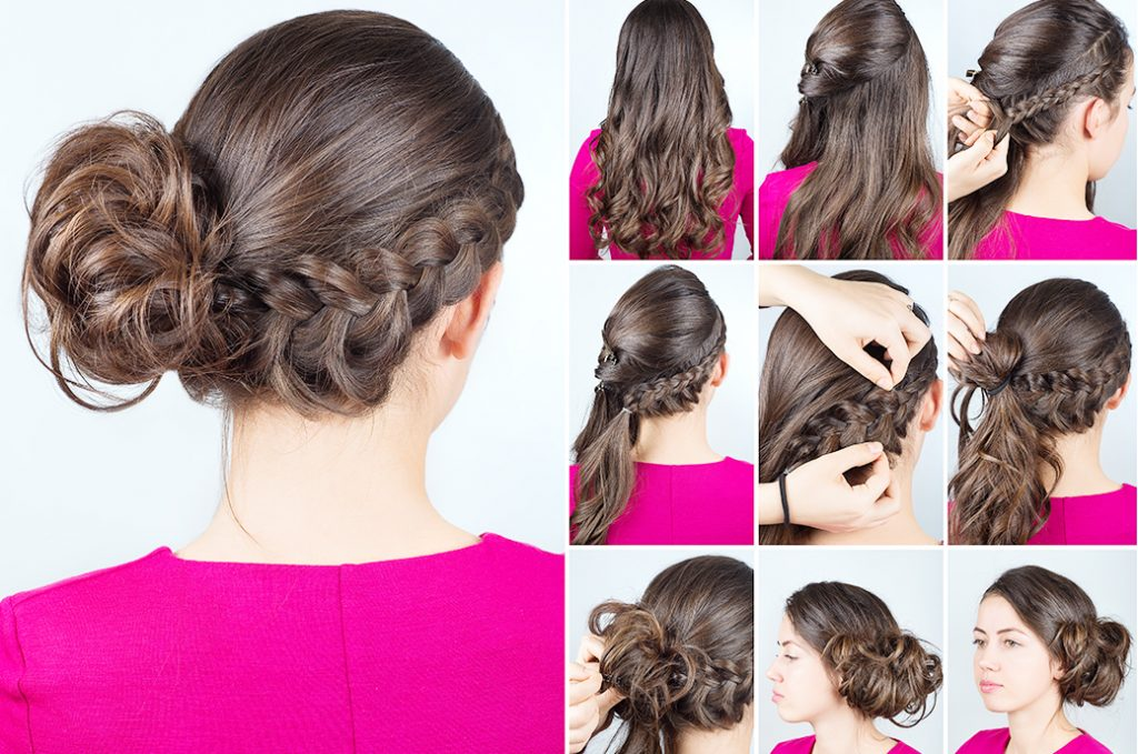 side bun hairstyle step-by-step instruction