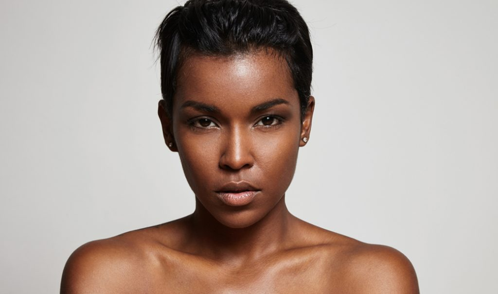 black woman with straight crop hairstyle