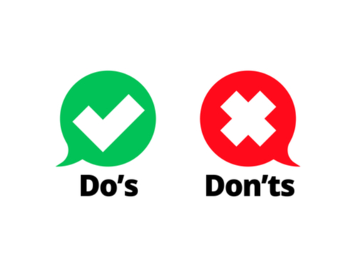 Do's and Don'ts check tick mark and red cross icons
