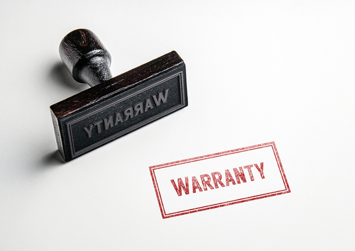 "Rubber stamping that says ""warranty"""